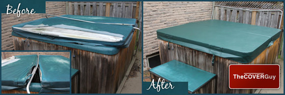 Hot tub cover before and after pictures