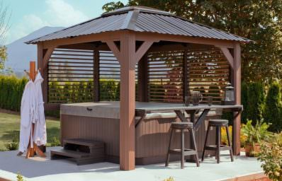 hot tub gazebo wood